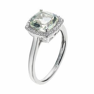 LC Lauren Conrad 10k White Gold Green Quartz & 1/8 Carat T.W. Diamond Cushion Halo Ring