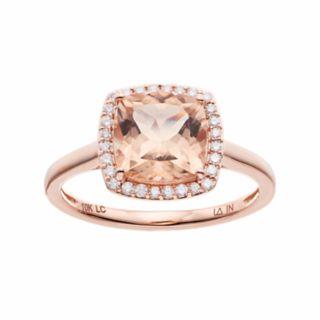 LC Lauren Conrad 10k Rose Gold Morganite & 1/8 Carat T.W. Diamond Cushion Halo Ring