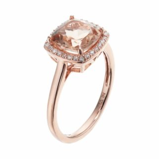 LC Lauren Conrad 10k Rose Gold Morganite & 1/8 Carat T.W. Diamond Cushion Halo Ring