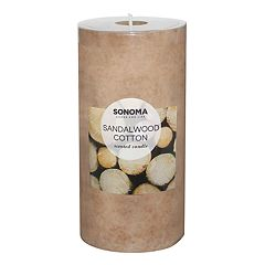 SONOMA Goods for Life™ Sandalwood Cotton 6' x 3' Pillar Candle