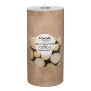 "SONOMA Goods for Life™ Sandalwood Cotton 6"" x 3"" Pillar Candle"