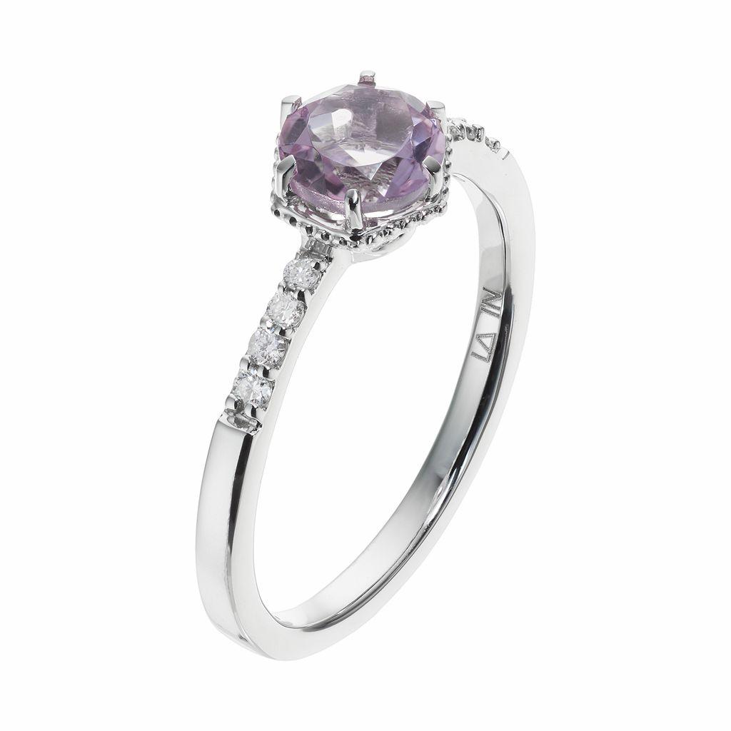 LC Lauren Conrad 10k White Gold Amethyst & 1/10 Carat T.W. Diamond Ring