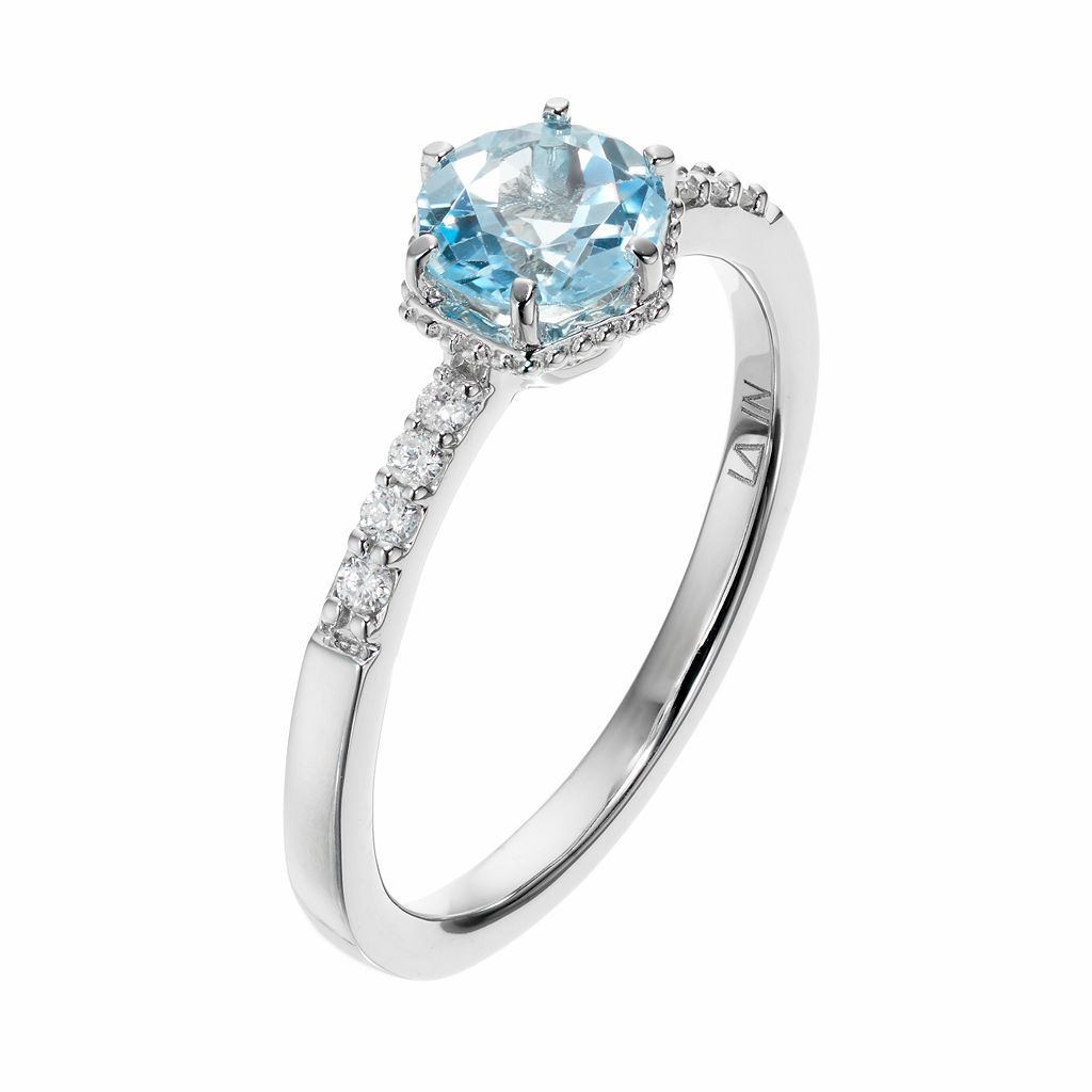LC Lauren Conrad 10k White Gold Blue Topaz & 1/10 Carat T.W. Diamond Ring