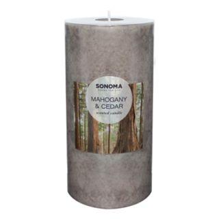 "SONOMA Goods for Life? Mahogany & Cedar 6"" x 3"" Pillar Candle"