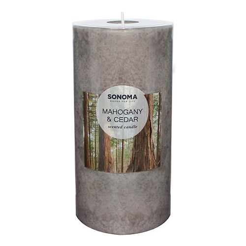 "SONOMA Goods for Life™ Mahogany & Cedar 6"" x 3"" Pillar Candle"
