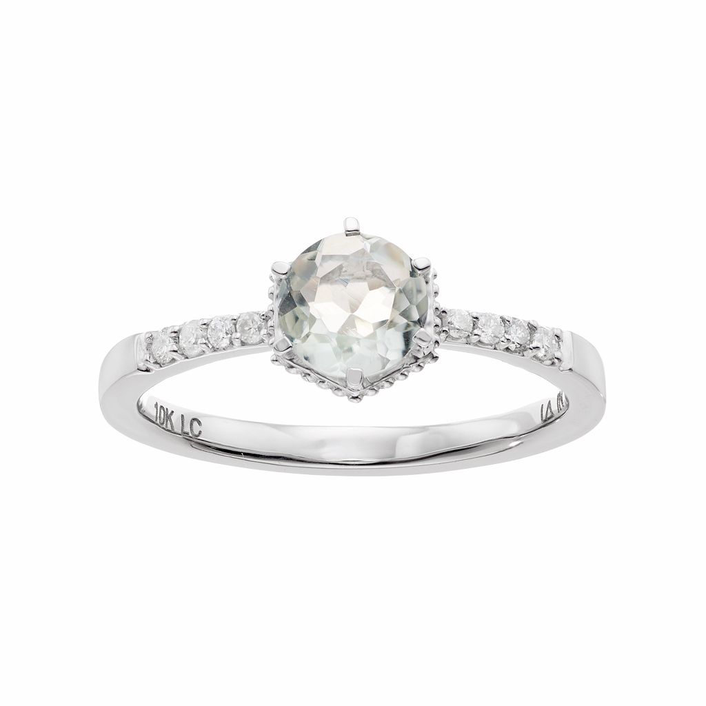 LC Lauren Conrad 10k White Gold Green Quartz & 1/10 Carat T.W. Diamond Ring