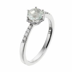 LC Lauren Conrad 10k White Gold Green Quartz & 1/10 Carat T.W. Diamond  Ring