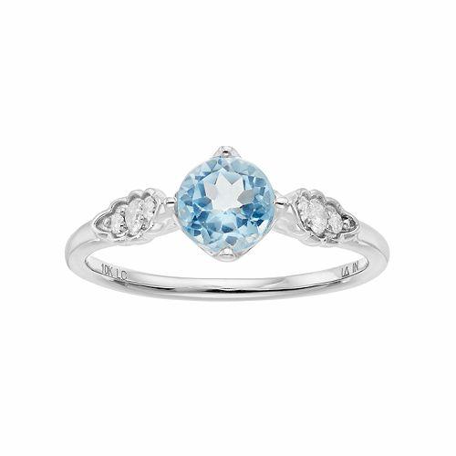 LC Lauren Conrad 10k White Gold Blue Topaz & 1/10 Carat T.W. Diamond Ring