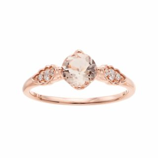 LC Lauren Conrad 10k Rose Gold Morganite & 1/10 Carat T.W. Diamond Ring