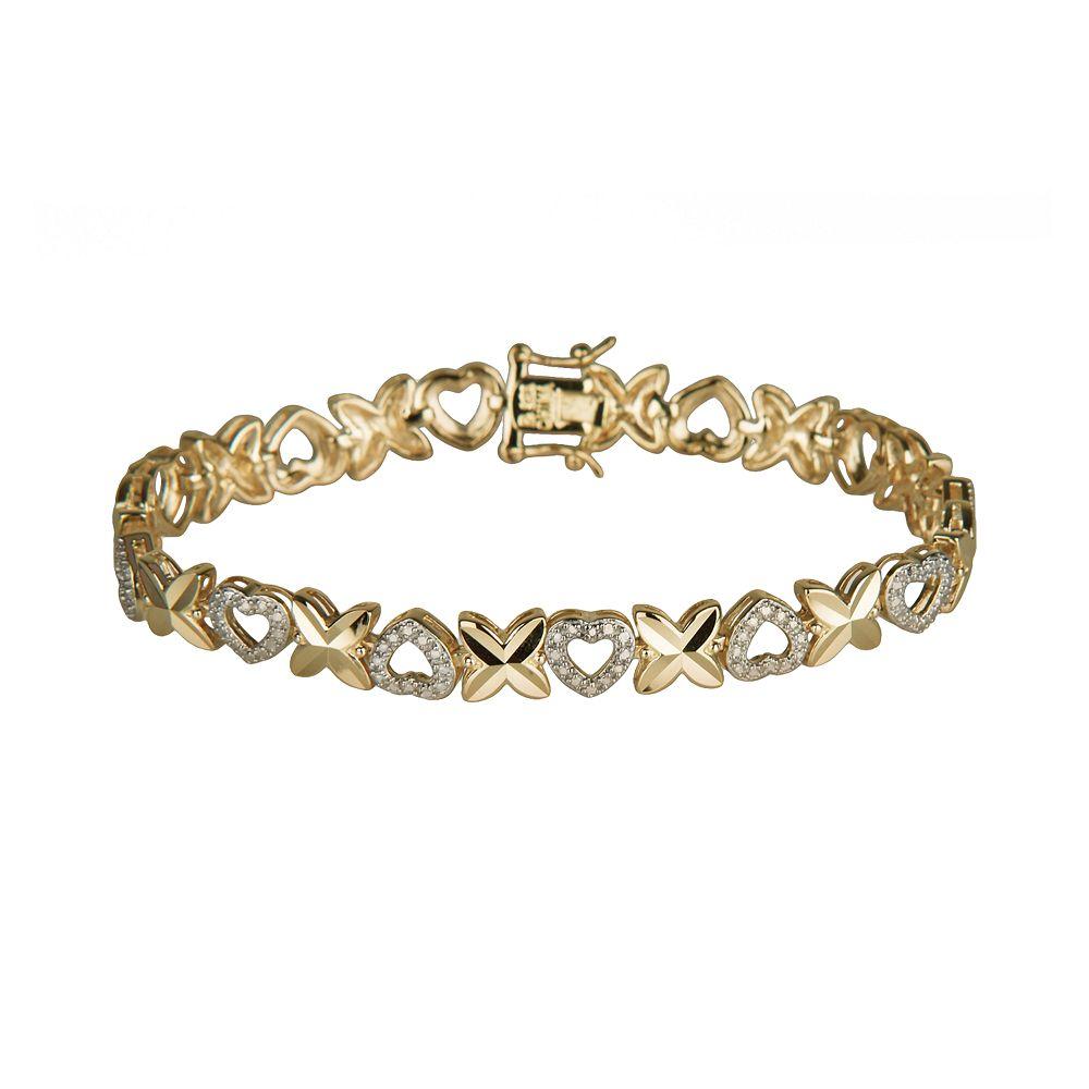 Gold-Over-Sterling Silver Diamond Accent Heart Bracelet