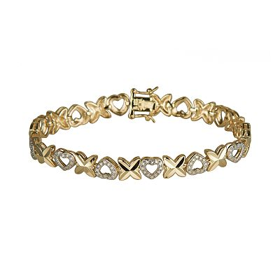 18k Gold-Over-Sterling Silver Diamond Accent Heart Bracelet