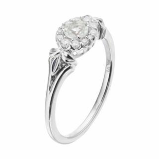 LC Lauren Conrad 10k White Gold Green Quartz & 1/8 Carat T.W. Diamond Flower Ring