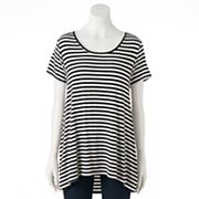 Women's Olivia Sky Striped Ruched High-Low Tee