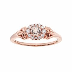 LC Lauren Conrad 10k Rose Gold Morganite & 1/8 Carat T.W. Diamond Flower Ring