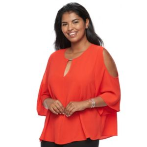 Juniors' Plus Size HeartSoul Keyhole Cold Shoulder Top