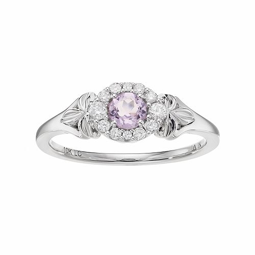 LC Lauren Conrad 10k White Gold Amethyst & 1/8 Carat T.W. Diamond Flower Ring