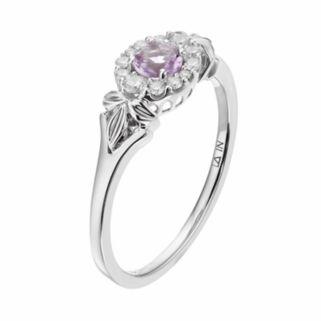 LC Lauren Conrad 10k White Gold Amethyst & 1/8 Carat T.W. Diamond Flower Ring