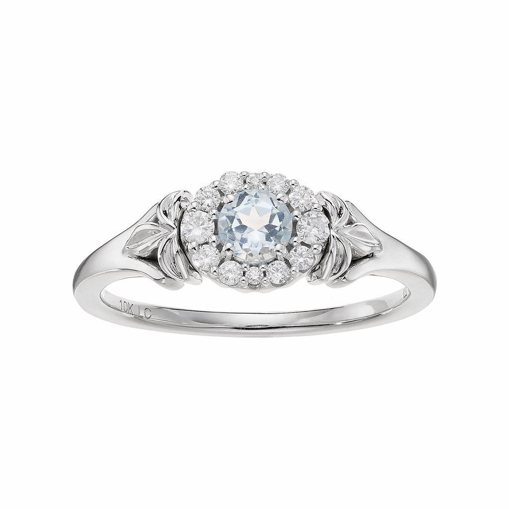 LC Lauren Conrad 10k White Gold Blue Topaz & 1/8 Carat T.W. Diamond Flower Ring