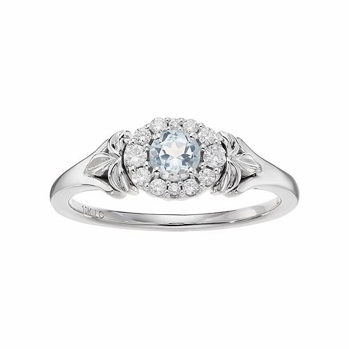 LC Lauren Conrad 10k White Gold Blue Topaz & 1/8 Carat T.W. Diamond Flower Ring