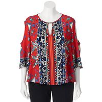 Juniors' Plus Size HeartSoul Print Cold Shoulder Top