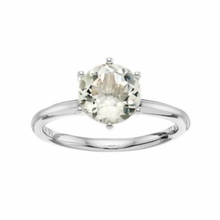 LC Lauren Conrad 10k White Gold Green Quartz Ring