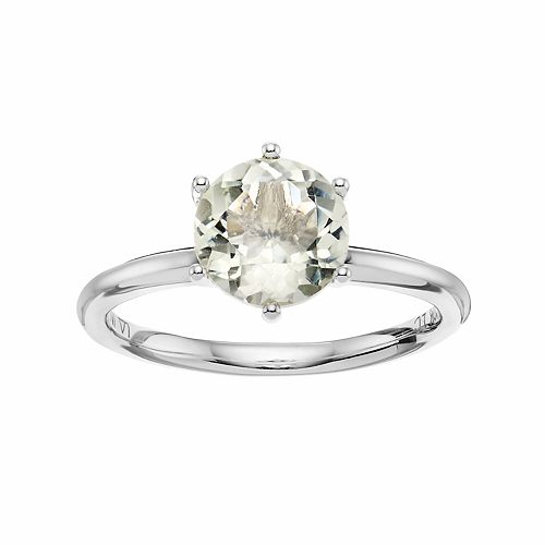 LC Lauren Conrad 10k White Gold Green Quartz Ring