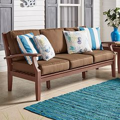 HomeVance Glen View Brown Finish Patio Sofa