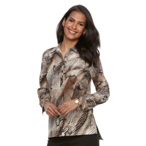 Women's Dana Buchman Roll-Tab Poplin Shirt