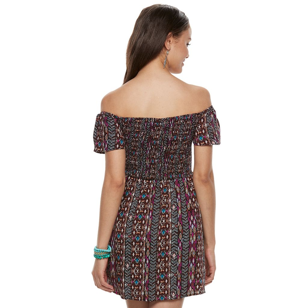Juniors' Love, Fire Smocked Off-The-Shoulder Dress