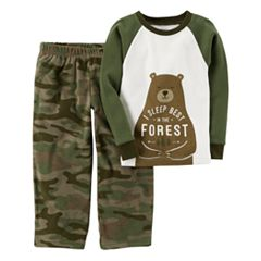 Baby Boy Carter's 2 pc Bear 'I Sleep Best in the Forest' Fleece Top & Pants Pajama Set