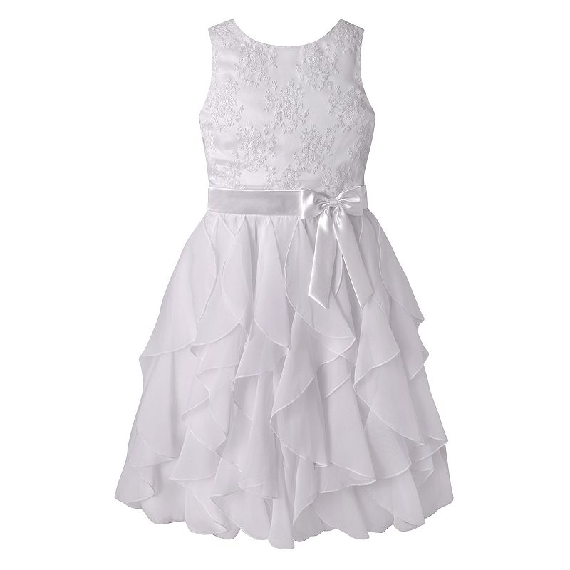 Girls 7-12 American Princess Embroidered Bodice Corkscrew Dress, Girl's, Size: 10, White