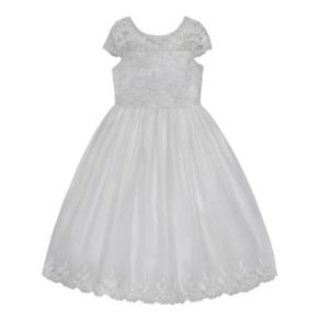 Girls 7-12 American Princess Cap Sleeve Embroidered Communion Dress