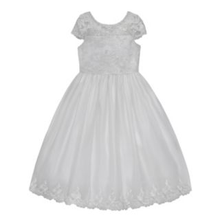 Girls 7-12 American Princess Cap Sleeve Embroidered Communion Dress