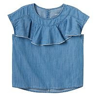 Girls 4-12 SONOMA Goods for Life™ Ruffle Front Chambray Top