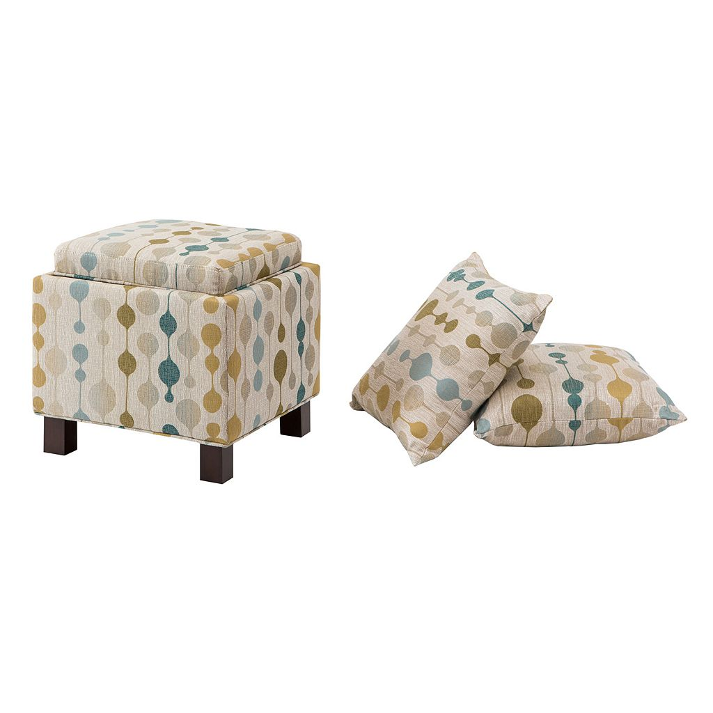 Madison Park Shelley Square Storage Ottoman & Throw Pillow 3-piece Set