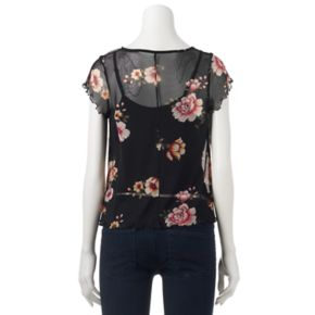 Juniors' Love, Fire Lined Print Mesh Top