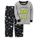 "Toddler Boy Carter's ""I Like The Night Life"" Glow-In-The-Dark Thermal Top & Microfleece Bottoms Pajama Set"
