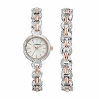 Armitron Women's Crystal Two Tone Stainless Steel Watch & Bracelet Set - 75/5485MPTRST