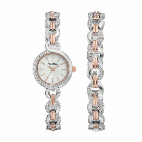 Armitron Women's Crystal Two Tone Stainless Steel Watch & Bracelet Set - 75/5485MPTRST