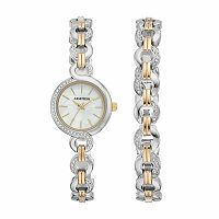 Armitron Women's Crystal Two Tone Stainless Steel Watch & Bracelet Set - 75/5485MPTTST