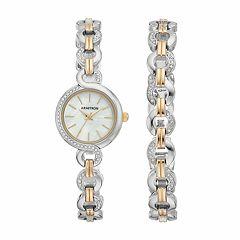 Armitron Women's Crystal Two Tone Stainless Steel Watch & Bracelet Set - 75/5485MPTTST