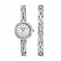 Armitron Women's Crystal Stainless Steel Watch & Bracelet Set - 75/5486MPSVST