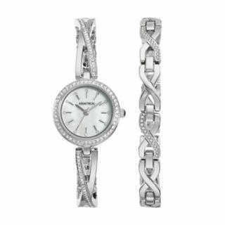 Armitron Women's Crystal Stainless Steel Watch & Bracelet Set - 75/5486MPSVST