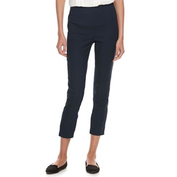 Women's ELLE™ Herringbone Pull-On Ankle Dress Pants