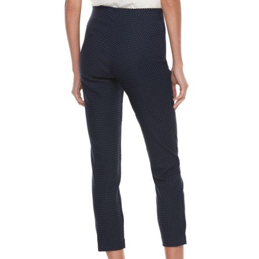 Women's ELLE™ Herringbone Pull-On Ankle Dress Pants