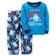 Toddler Boy Carter's Snowboarding Yeti Thermal Top & Microfleece Bottoms Pajama Set