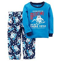 Toddler Boy Carter's Snowboarding Yeti Thermal Top & Microfleece Bottoms Pajama Set