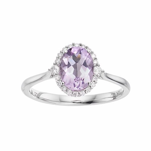 LC Lauren Conrad 10k White Gold Amethyst & 1/8 Carat T.W. Diamond Oval Halo Ring