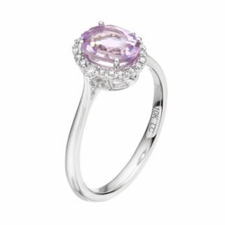 LC Lauren Conrad 10k White Gold Amethyst & 1/8 Carat T.W. Diamond Oval Halo Ring