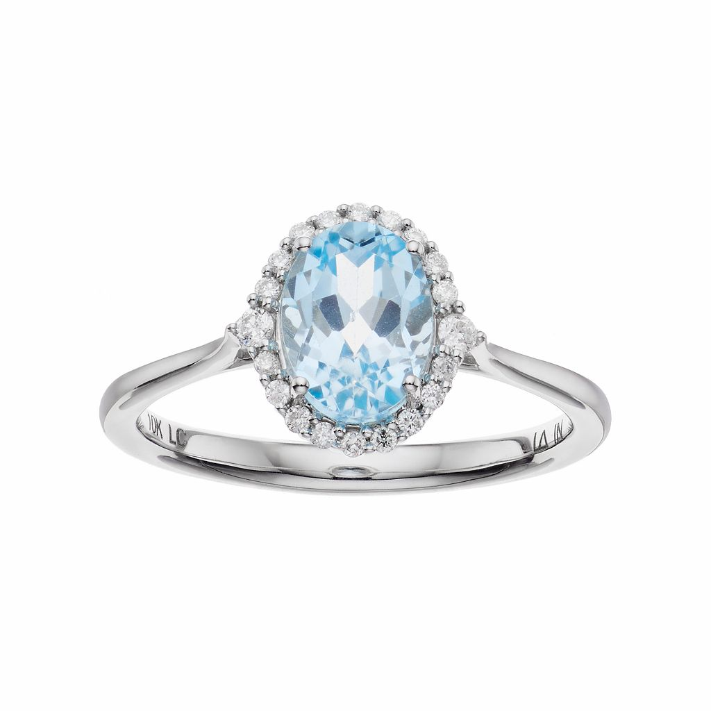 LC Lauren Conrad 10k White Gold Blue Topaz & 1/8 Carat T.W. Diamond Oval Halo Ring